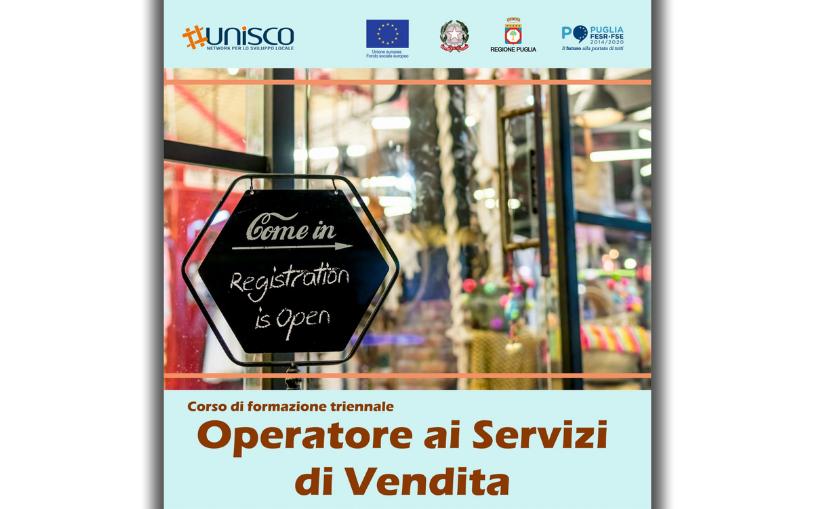 """Corso gratuito triennale """"OPERATORE AI SERVIZI DI VENDITA"""" – O.F. 18"""